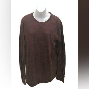Express Mens Burgundy Long Sleeve Basic T-Shirt